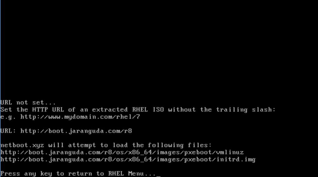 boot ke menu install RHEL