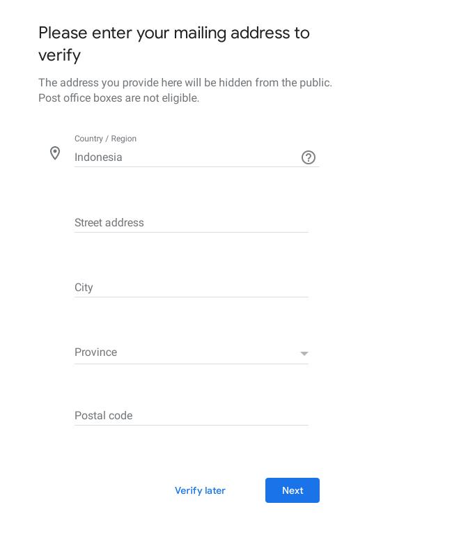 verifikasi alamat