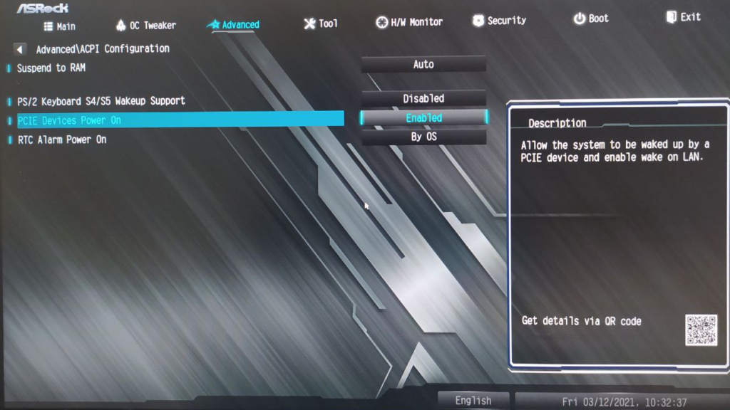 setting BIOS ASROCK wake on lan