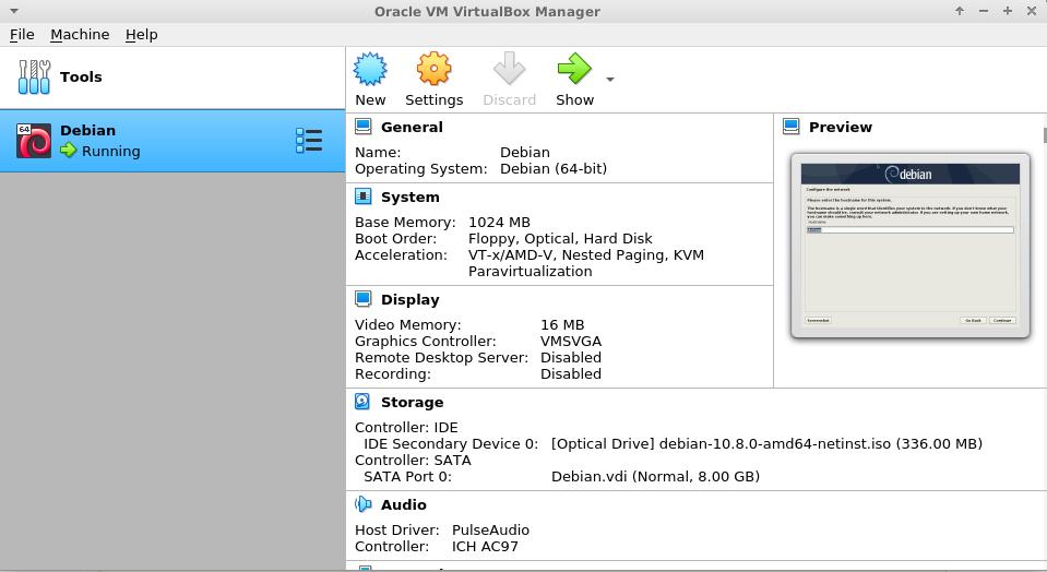 virtualbox installed on debian