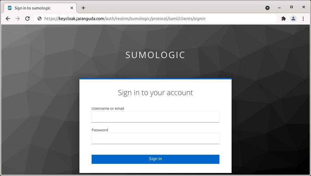 alamat login sumologic dari keycloak